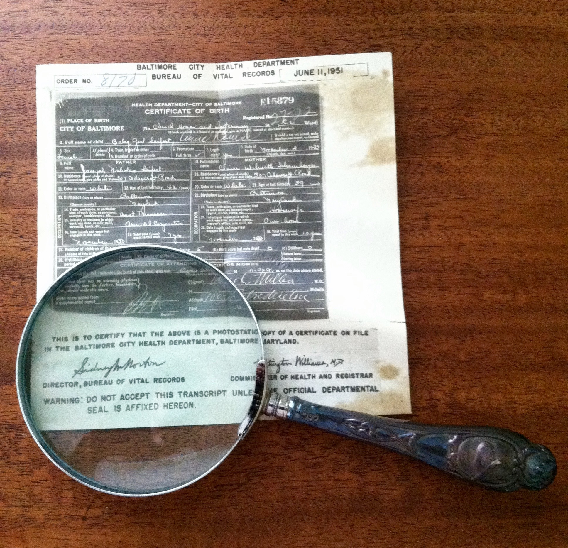 Found objects judith krummeck close inspection tells me that it is the certificate of birth for baby girl seifert anne louise born november 3 1933 to joseph nicholas 42 and claire aiddatafo Image collections